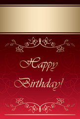 red and gold vector card - happy birthday