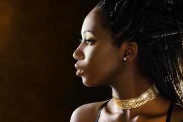 Studio profile beauty portrait of african girl.