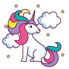 Cute unicorn with stars and clouds over white background. Vector illustration.