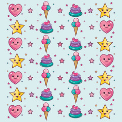 Kawaii pattern with stars, hearts, ice cream and whipped cream over light background. Vector illustration.