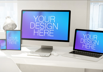 4 Devices on White Table Mockup 2