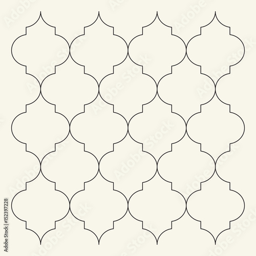 Flat outline moroccan pattern. Tile template\