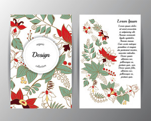 stock vector floral card design.doodle pattern with wreath flowers and leaf. russian or orient style