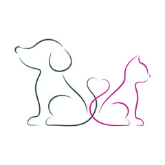 Dog and cat minimalist vector illustration