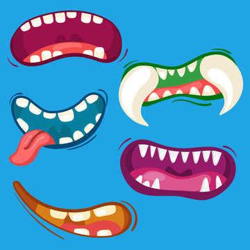 Cartoon cute monster mouths set with different emotional expressions. Teeth, tongue, mouth collection. Halloween vector illustration