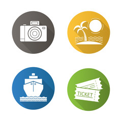 Travel and tourism flat design long shadow icons set