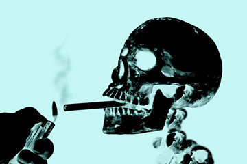 Smoking kills or Stop smoking conceptual image with x-ray image