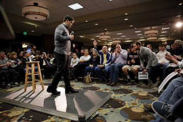 U.S. Republican presidential candidate Senator Marco Rubio takes questions from the audience during a campaign rally in Council Bluffs, Iowa