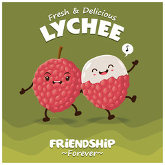 Vintage fruit poster design with vector lychee character.