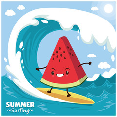 Vintage fruit poster design with vector watermelon surfer.