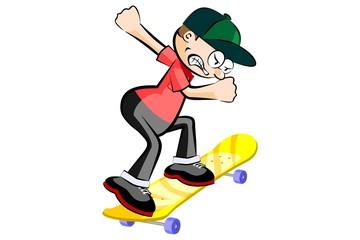 Kid on skatebard isolated