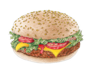 Hamburger on a bun over white background