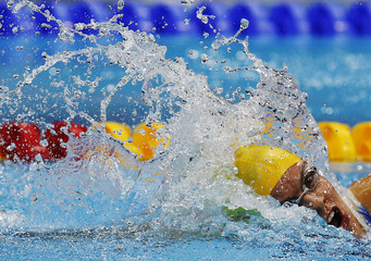Australia's Jacqueline Freney swims to win the women's 100m Freestyle - S7 during the London 2012 Paralympic Games at the Aquatics Centre in the Olympic Park