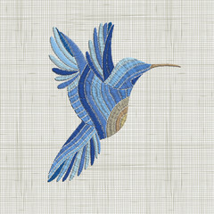 Embroidery blue bird. Vector Embroidery home decor, ornament for textile, fashion, fabric pattern.