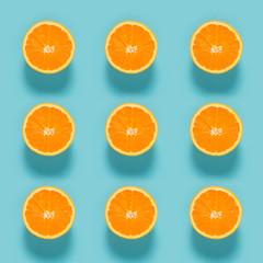 Fresh orange pattern on blue background