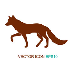 Silhouette of a fox. Logo. Flat icon. Vector illustration.