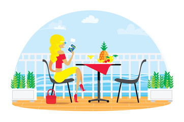 Beautiful blond woman. Chairs and Table on the terrace balcony. Restaurant View over the sea. Water landscape. Dinner Picnic with fruit. Pineapple. Flower. Fence. Flat vector
