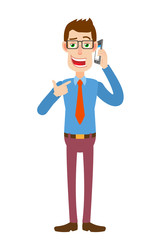 Businessman pointing his finger at the mobile phone that he talks