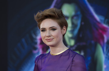 "Cast member Gillan poses at the premiere of ""Guardians of the Galaxy"" in Hollywood"