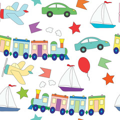 Seamless pattern with children's toys for the boy.