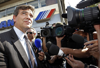 France's Socialist Party primary election candidate Montebourg speaks to the media in Marseille
