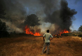 A man looks at the fire reaching his house near Mangualde