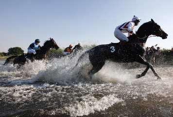 Horses leave a lake during the Seejagdrennen at the gallop derby in Hamburg