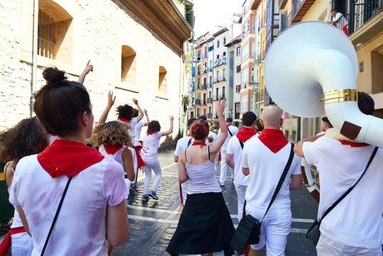 People celebrate San Fermin festival, 06 July 2016, Pamplona, Navarra, Spain.