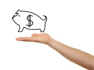 Woman holding drawing of piggy bank on white background