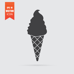 Ice cream icon in flat style isolated on grey background.