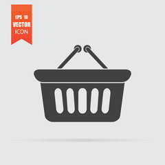 Shopping basket icon in flat style isolated on grey background.