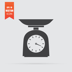 Kitchen scale icon in flat style isolated on grey background.