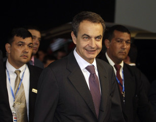 Spanish Prime Minister Jose Luis Rodriguez Zapatero arrives at Asuncion airport