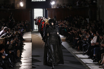 Models present creations by French designer Jean-Charles de Castelbajac as part of his Fall/Winter 2012-2013 women's ready-to-wear fashion show in Paris
