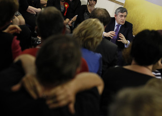 Britain's PM Brown responds to radio listeners' questions at a radio station in Southampton