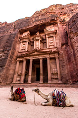 The Monastery, a building carved out of rock in the ancient Petra, Jordan