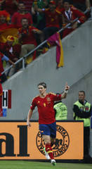 Spain's Fernando Torres celebrates after scoring against Ireland during  their Group C Euro 2012 soccer match at the PGE Arena stadium in Gdansk