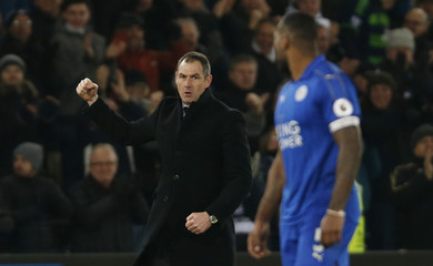 Swansea City manager Paul Clement celebrates after the match