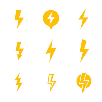 Lightning bolt, electricity warning vector signs over white