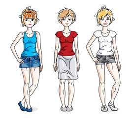 Happy young women group standing wearing fashionable casual clothes. Vector diversity people illustrations set.
