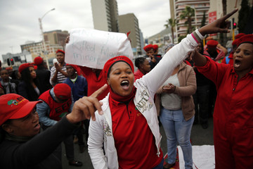 Members of Julius Malema's Economic Freedom Fighters (EFF) party demonstrate outside Parliament in Cape Town