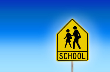 School Street Sign with Blue Background