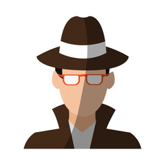 faceless man wearing glasses hat and trench coat  avatar icon image vector illustration design