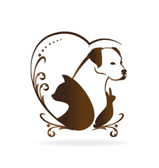 Cat dog rabbit bird love heart shape logo silhouettes design vector icon