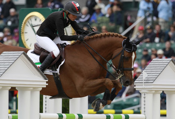Latifa al Makhtoum from the United Arab Emirates riding Kalaska de Semilly competes in the speed competition of World Jumping Championship at the World Equestrian Games in Lexington