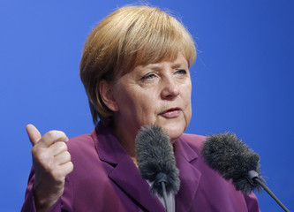 German Chancellor and CDU leader Merkel attends an election campaign rally in Frankfurt