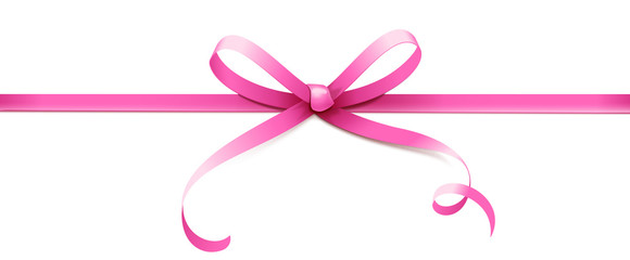 Pink curled bow with horizontal ribbon isolated