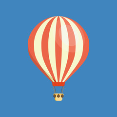 Air vehicles. Hot air balloon in the sky with clouds.