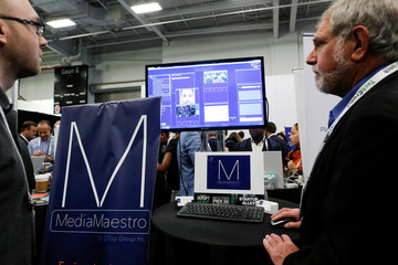 Gary Olson of GTop Group gives a demonstration of their Anti-Terrorism and Situational Awareness technology platform to attendees during the TechCrunch Disrupt event in Manhattan, in New York City