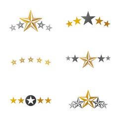 Stars ancient emblems elements set. Heraldic vector design elements collection. Retro style label, heraldry logo.
